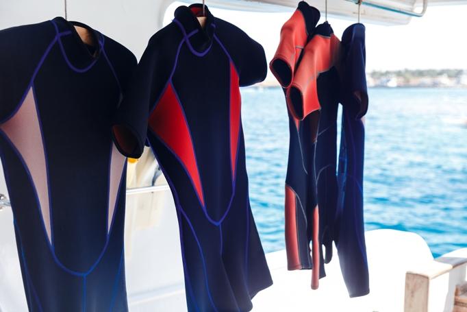 Wetsuit prepared from waterproof fabrics