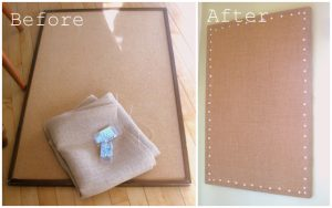 burlap bulletin board by Melanie on flickr