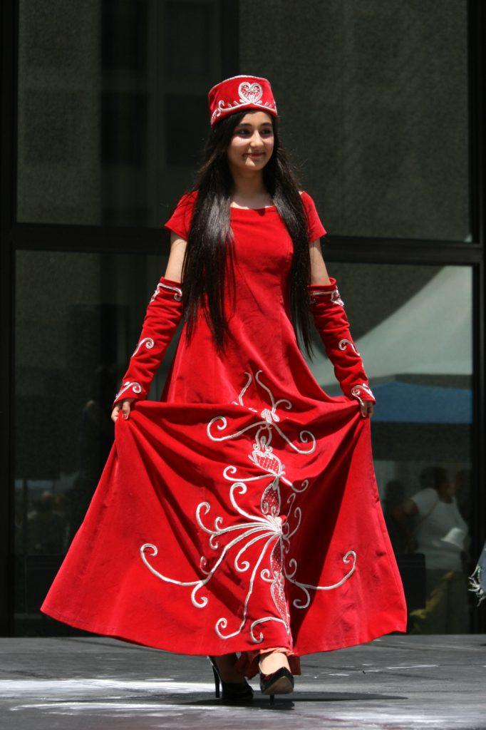 Dress made of velvet fabrics