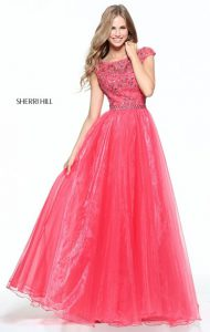 Sherri Hill in red dress made from Organza